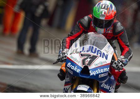 CHESTE - NOVEMBER 9: Claudio Corti during MOTOGP of the Comunitat Valenciana, on November 9, 2012, in Ricardo Tormo Circuit of Cheste, Valencia, Spain