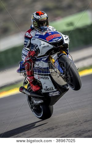 CHESTE - NOVEMBER 10: Jorge Lorenzo during GP of the Comunitat Valenciana, on November 10, 2012, in Ricardo Tormo Circuit of Cheste, Valencia, Spain