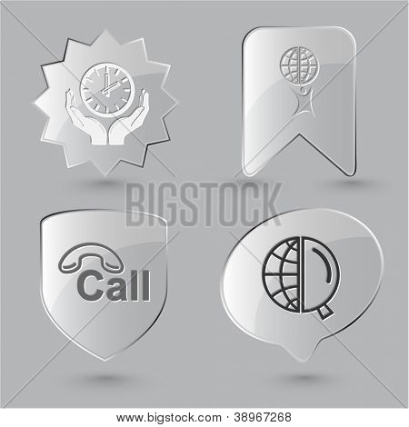 Business icon set. Little man with globe, globe and magnifying glass, clock in hands, hotline.  Glass buttons.