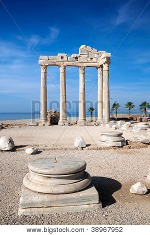 Temple of Apollo ancient ruins in Side Turkey.