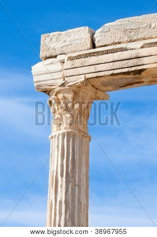 Details of ancient Apollo temple ruins.