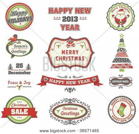 Kerstmis retro etiketten instellen