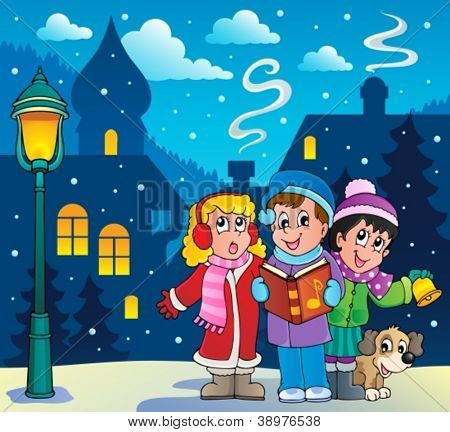 Christmas carol singers theme 3 - vector illustration.