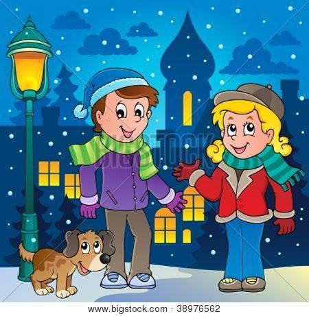 Winter person cartoon image 3 - vector illustration.