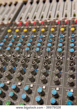 Audio mixing board shot