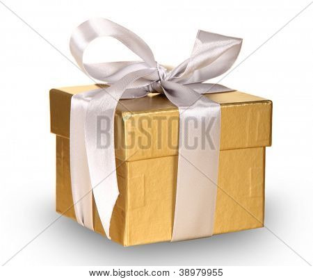 Gold gift over white background