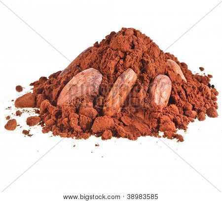 cocoa powder heap with cocoa beans isolated on white background