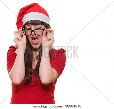 sexy christmas woman wearing glasses against a white background