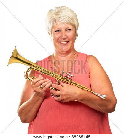 Mature Woman Holding Her Trumpet Isolated On White Background