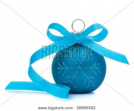 Blue Christmas ball isolated on white background cutout