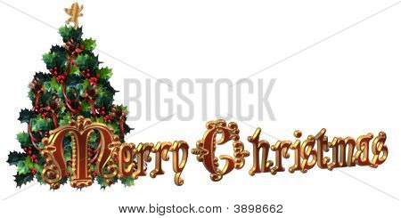 Merry Christmas Label Design 3D Text