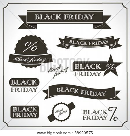 Black Friday vintage retro labels and emblems