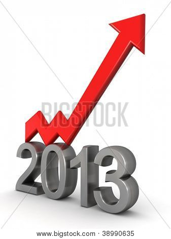 Year 2013 financial success arrow pointing up 3d illustration