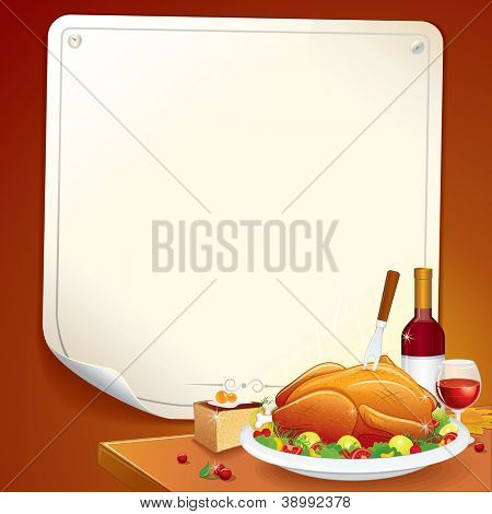 Cartoon Thanksgiving Background with Roasted Turkey, Pie and Wine