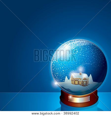 Glass Dome with Christmas Scene. Wooden House and Pine Forest on Winter Landscape. Illustration for your Christmas or New Years Greeting Card