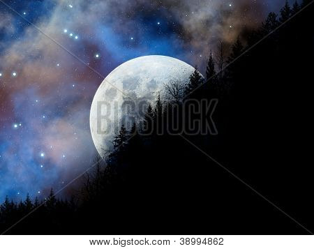 Magic night landscape with full moon over the hill