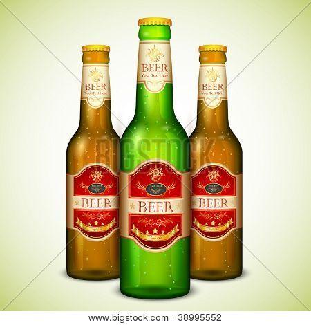 ilustração da garrafa de cerveja colorida com etiqueta