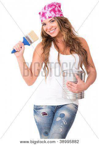 Female painter holding a paintbrush and a paint can - isolated over white