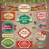 Collection of christmas ornaments and decorative elements, vintage frames, labels, stickers and ribb