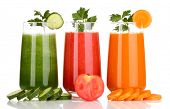 stock photo of cold drink  - Fresh vegetable juices isolated on white - JPG