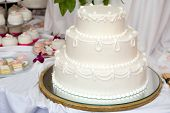 stock photo of three tier  - Three tiered wedding cake with white icing - JPG