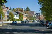 picture of woodstock  - Main street in Woodstock Vermont. Old restored homes and buildings from the early 1800\