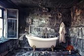 picture of interior  - vintage bathtub in grunge interior  - JPG