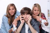 stock photo of pushy  - Girls playing computer games - JPG