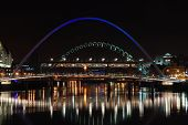 picture of tyne  - View of several bridges at night on the River Tyne at Newcastle quayside - JPG