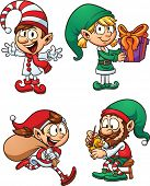 stock photo of elf  - Cartoon Christmas elf characters - JPG