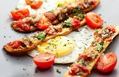 stock photo of pesto sauce  - Fried Eggs with Cherry Tomato - JPG