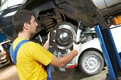 pic of levers  - car mechanic examining car suspension of lifted automobile at repair service station - JPG