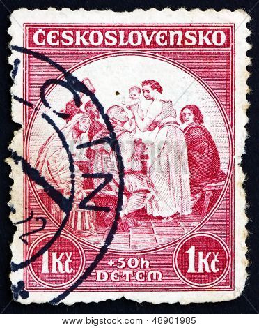Postage Stamp Czechoslovakia 1936 Newborn Child, Painting