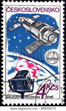 Postage Stamp Czechoslovakia 1980 Camera And Satellite