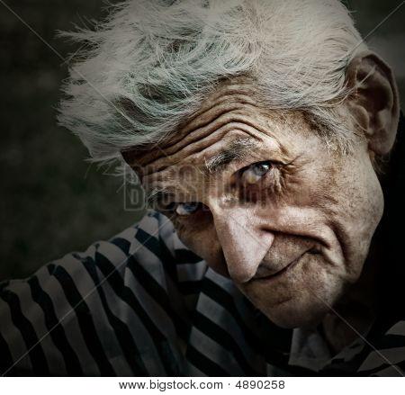 Vintage Portrait Of Senior Man With Wisdom Smile