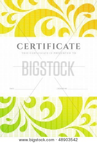 Certificate / Diploma template (scroll pattern). Award background
