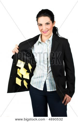 Businesswoman With Reminder Notes