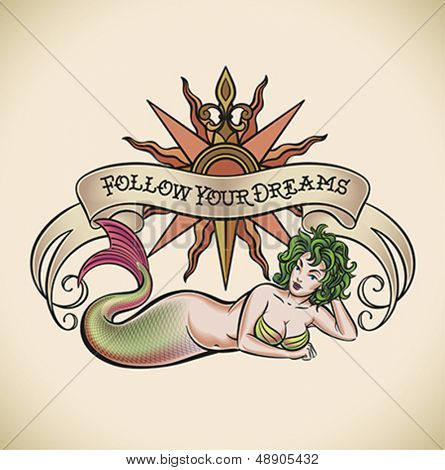 Old-school styled tattoo of a green hair mermaid on the background of a rose of winds and a banner. Editable vector illustration.
