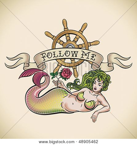 Old-school styled tattoo of a green hair mermaid with a red rose, a nautical steering wheel and a banner. Editable vector illustration.