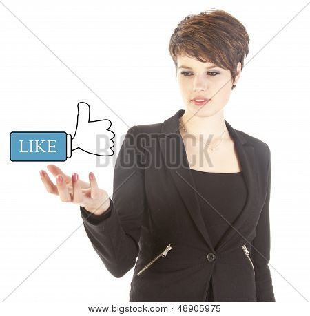 Young Woman With Like Thumbs Up Isolated On White Background