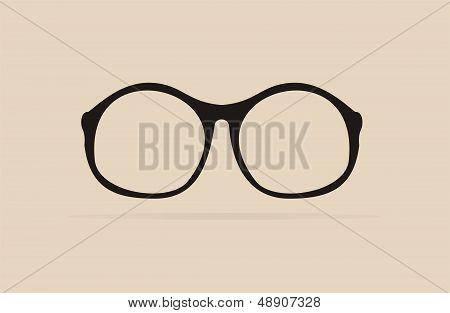Vector professor black glasses - retro hipster illustration isolated on beige background.