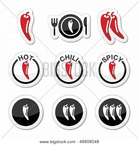 Chili peppers, hot and spicy food icons set