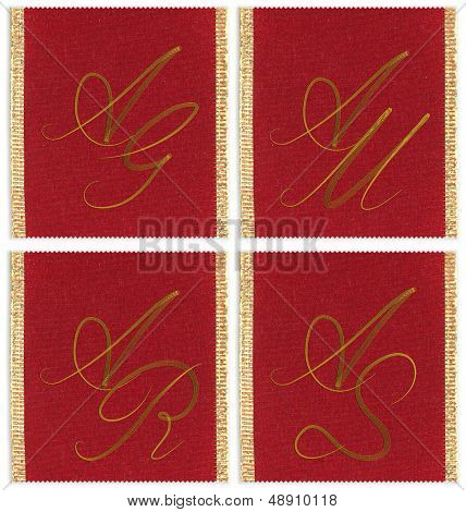 Collection of textile monograms design on a ribbon. AJ, AM, AS, AR