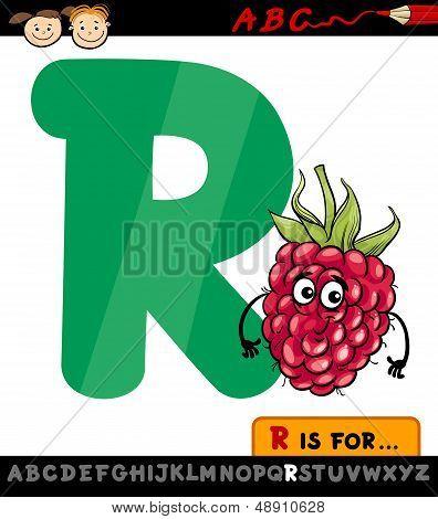 Letter R With Raspberry Cartoon Illustration