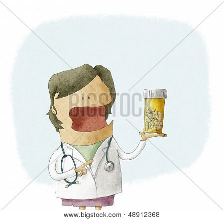 Doctor holding a bottle of pills