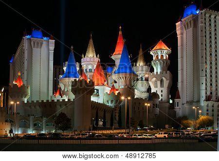 Excalibur Hotel And Casino At Night In Las Vegas