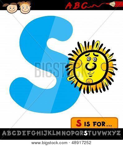 Letter S With Sun Cartoon Illustration