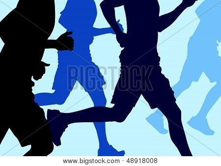 Men Running Abstract