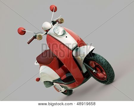 Modern classic scooter on a grey background