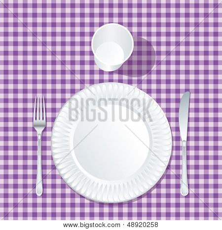 vector paper plate with plastic glass on violet tablecloth